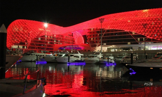 Yas (Viceroy) Hotel with 5,300 LED panels that light up the night with changing patterns and colors.