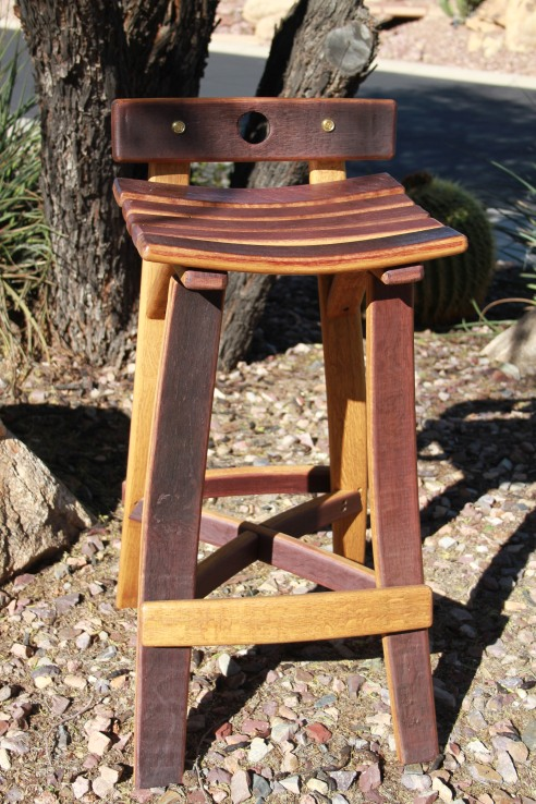 Bar/high table barrel stave seat